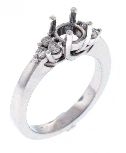 14kt White Gold Diamond Semi Mount