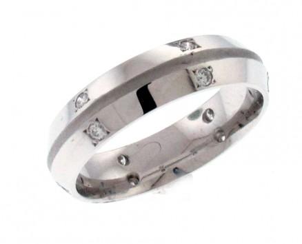 14kt White Gold Diamond Men`s Wedding Band