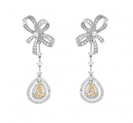 18kt White Gold Yellow Diamond Earrings