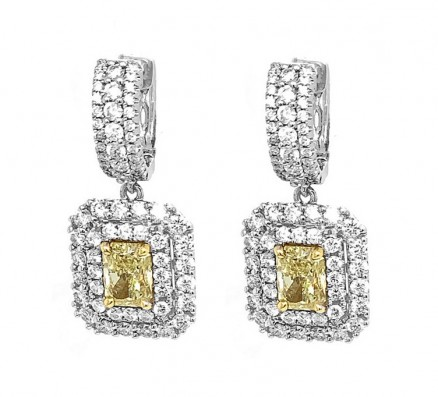 18kt White Gold GIA certified Yellow Diamond Earrings