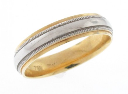 Platinum And 18kt Yellow Gold Men's Band