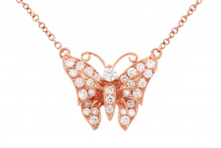 18kt Rose Gold Diamond Butterfly Pendant