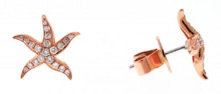 18kt Rose Gold Diamond Star Fish Earrings