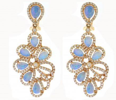 18kt Rose Gold Diamond And Opal Dangling Earrings