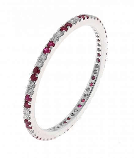 18kt White Gold Diamond And Ruby Eternity Band.