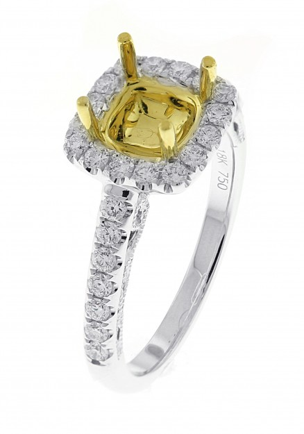 18kt White And Yellow Gold Diamond Halo Semi Mount