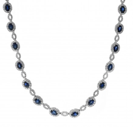 f657b435f03 18kt White Gold Diamond and Sapphire Necklace - Color Stone ...