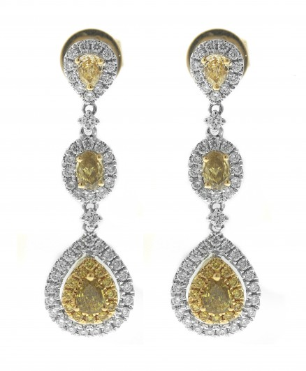 18kt White and Yellow Gold Diamond Dangling Earrings