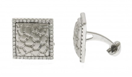 18kt White Gold Diamond Cuff Link