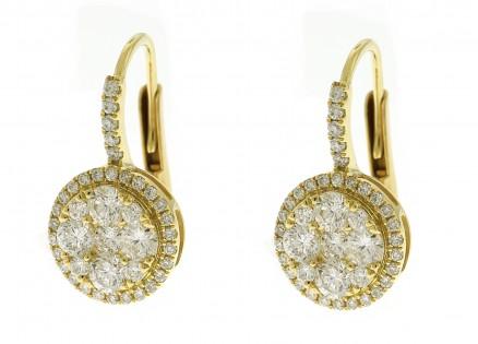 18kt Yellow Gold Diamond Huggie Earrings