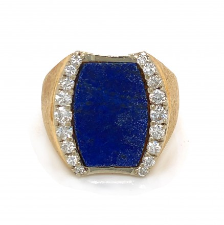 14kt Yellow Gold Diamond and Lapis Ring