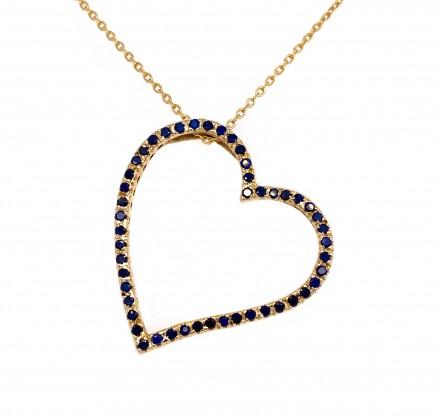 14kt Yellow Gold Diamond and Sapphire Pendant