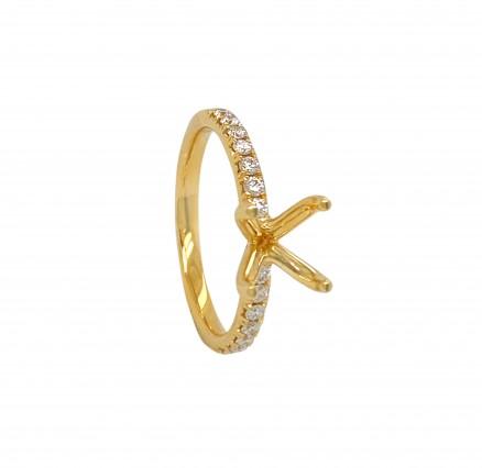 18kt Yellow Gold Diamond Semi-mount
