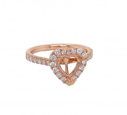 18kt Rose Gold Diamond Semi-mount