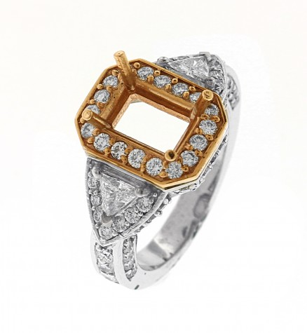 14kt White And Rose Gold Diamond Semi Mount