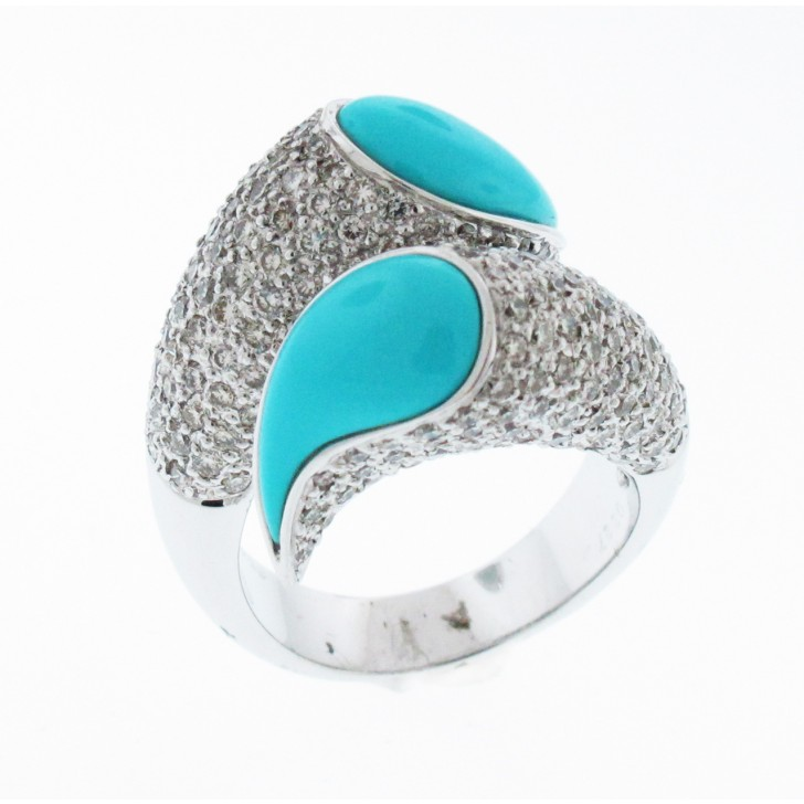 18kt White Gold Turquoise Ring Color Stone Rings Rings