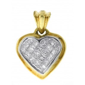 14kt Yellow Gold Diamond Heart Pendant