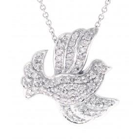 14kt White Gold Diamond Bird Pendant