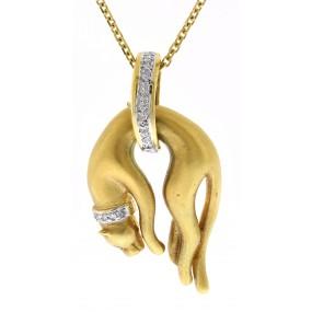 18kt Yellow Gold Diamond Cat Pendant