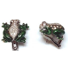 18kt White Gold Enamel Frog Earrings