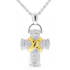 18kt White and Yellow Gold Diamond Cross Pendant