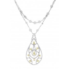 18kt White Gold Yellow Diamond Necklace