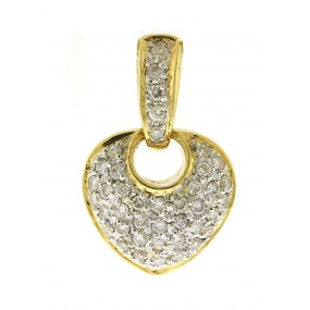 18kt Two Tone Gold Diamond Heart Pendant