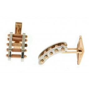 14kt Rose And White Gold Cuff Link