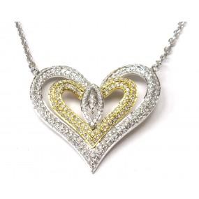 18kt White and Yellow Gold Diamond Heart Pendant