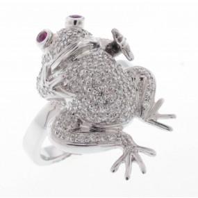 18kt White Gold Diamond Frog Ring