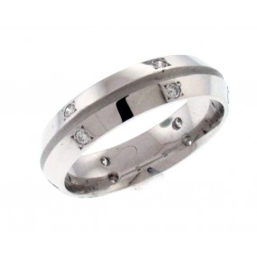 14kt White Gold Diamond Men`s Wedding Band