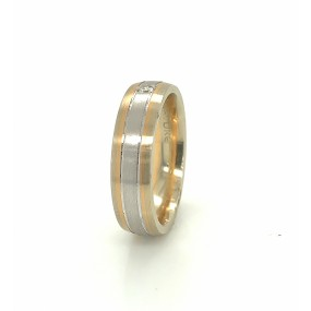 18kt Tricolor Gold Diamond Men`s Wedding Band