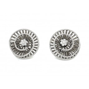 18kt White Gold White And Cognac Diamond Earrings