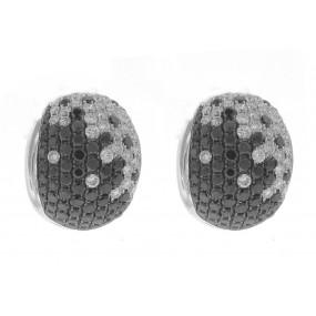 18kt White Gold Black and White Diamond Earrings