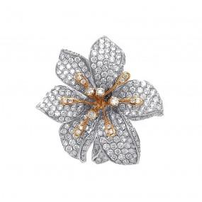 18kt White And Rose Gold Diamond Flower Ring