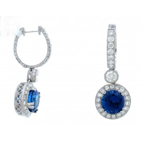 18kt White Gold Diamond and Tanzanite Earrings