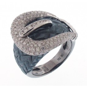 18kt Two Tone Gold Diamond Buckle Ring