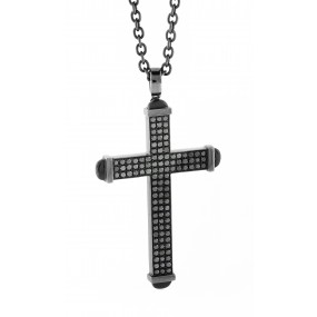 18kt Black Gold Black Diamond Cross Pendant