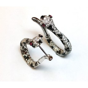 18kt White Gold Black and White Diamond Snake Hoops