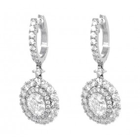 18kt White Gold Oval Diamond Earrings