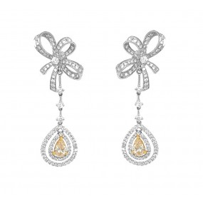 18kt White Gold Yellow Diamond Earrings