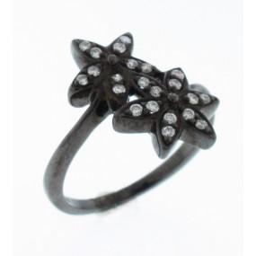 14kt Black Gold Diamond Double Flower Ring