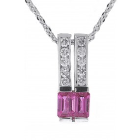 14kt White Gold Diamond And Sapphire Pendant