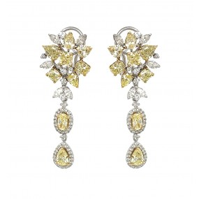 18kt White Gold Yellow Diamond Dangling Earrings