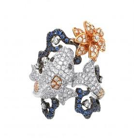 18kt Tri Tone Gold Diamond And Sapphire Fish Ring