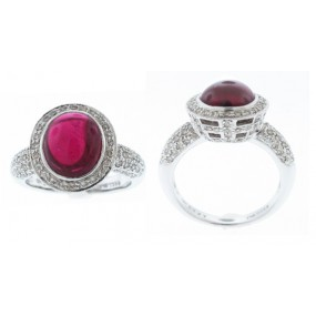 18kt White Gold Rubellite Ring