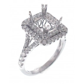 18kt White Gold Diamond Halo Semi Mount
