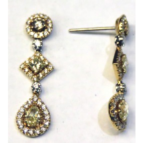 18kt White and Yellow Gold Yellow Diamond DanglingEarrings