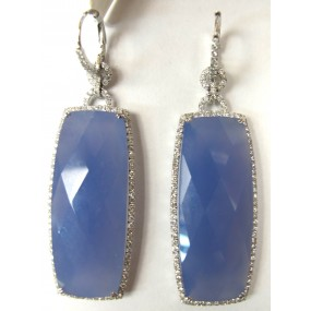 18kt White Gold Blue Chalcedony Dangling Earrings
