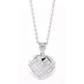 18kt White Gold Diamond Heart Pendant